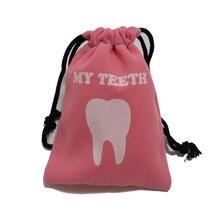 10pcs Dental clinic gift Deciduous teeth bag  primary teeth case The tooth fairy bag 1 pc teeth model children deciduous teeth