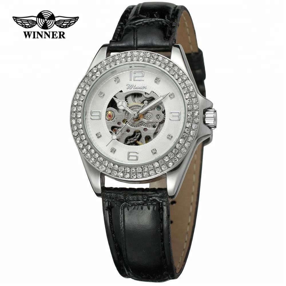 T- Winner Women Mechanical Automatic Skeleton Watch Luxury Top Brand Ladies Diamond Wristwatch Gifts 2019 New Relogio Feminino