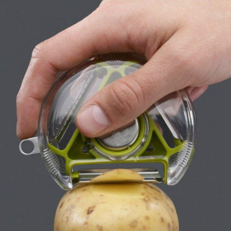 1pc Rotativo Multifuncional Descascador Descascador de Legumes Ralador Apara Knifer com Lâminas 3 Cenoura Ralador Cebola Slicer