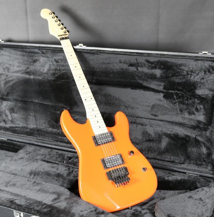 Orange SR-Charvel Guitare Électrique Inversée Poupée Lumière Main Floyd Rose Pont Daul Humbucker Micros Tilleul Corps