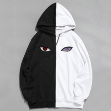 Толстовка с принтом Наруто Шаринган, тонкий Двухцветный пуловер в стиле аниме, Свитшот в стиле Харадзюку, хип хоп, лето
