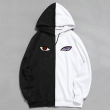 Nova marca de anime verão naruto impressão a sharingan dupla cor hoodies pulôver moletom harajuku hip hop roupas finas
