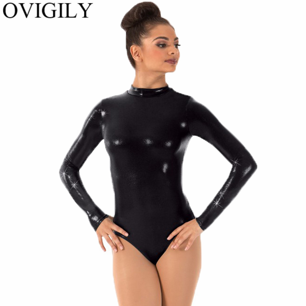 a6570e76359b OVIGILY Women Silver Gymnastics Leotard One Piece Leotards Bodysuits Adults  Mock Neck Long Sleeve Ballet Dance Leotard For Girls