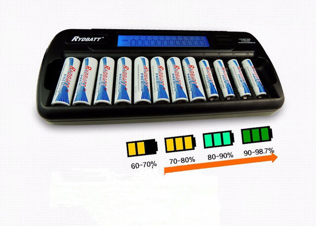 OEM Factory Certificated 12 slots LCD Smart Charger For AA AAA NI-MH NI-CD Rechargeable Cells Battery 12-banks with US/EU Plug