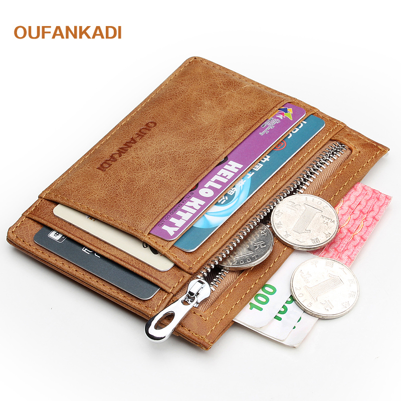 Oufankadi Genuine Leather Slim Card Holder Brand Designer Vintage Credit Cards Organizer Small Thin Purse Men Mini Wallet VKB012 men plaid pu leather wallet light bifold fashion designer credit cards holder clutch id card organizer brand purse for men phd08