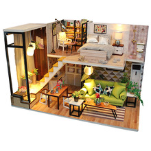 Diy Doll House Toy Wooden Miniatura Doll House Miniature Dollhouse Toys with Dust Cover Furniture Led Lights Kids Birthday Gif