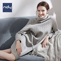 Ndy Fashion nightgown winter High collar Casual and comfortable sleepwear for women Contracted household to take suit