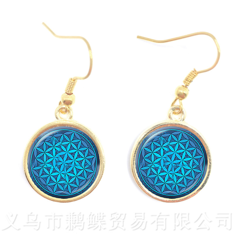 2018 New OM Yoga Key Earrings Classic Chakra Mandala Glass Jewels Sacred Geometric Blue Flower Gift For Friends Brithday Gift