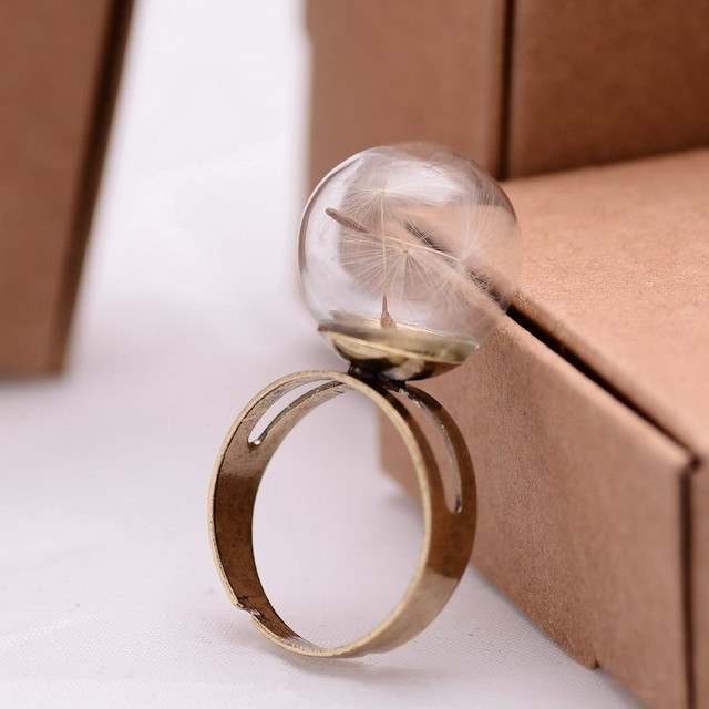 Dandelion Seed Real Flower Rings Resizable Middle Finger Rings For Women  Summer Style Fine Jewelry Vintage