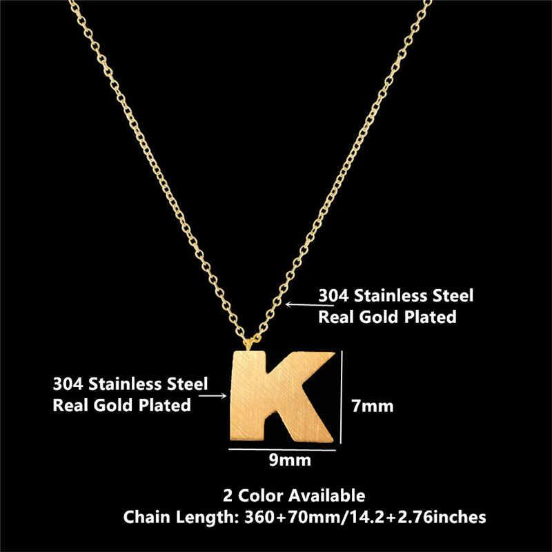Litera K naszyjnik dla kobiet mężczyzn ze stali nierdzewnej złoty kolor srebrny początkowy urok K list naszyjniki prezent dla przyjaciółki