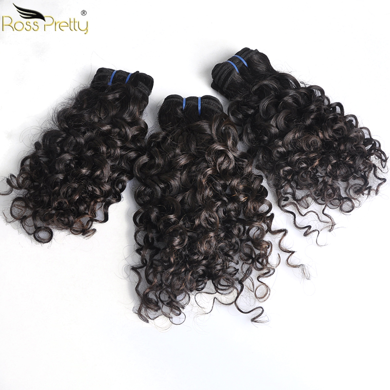 Peruvian Hair Weave Bundles Curly Remy Hair Style 8inch To 18inch Natural Black Human Hair Extension Ross Pretty Hair Brand