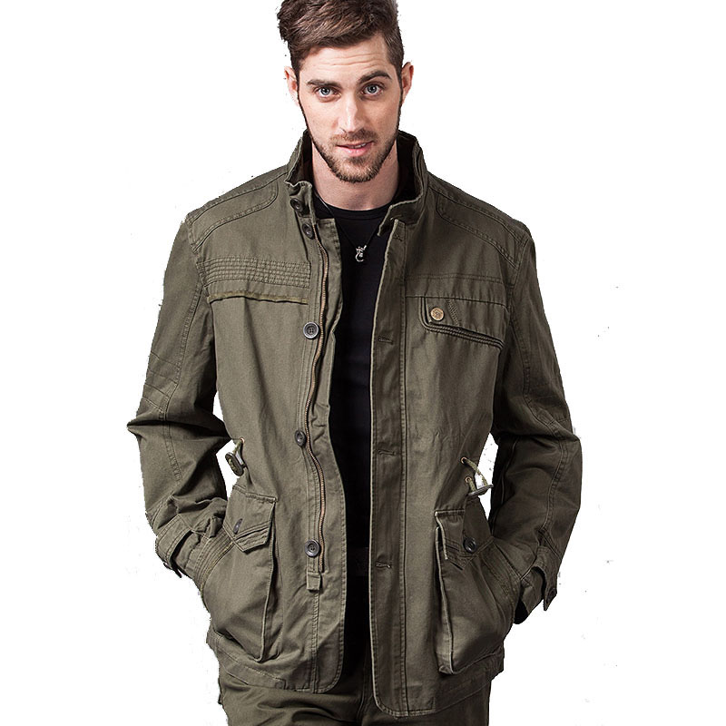 New Military Mens Jacket Designer Fashion Stand Collar Multi-pocket 100% Cotton Plus Size Casual Jacket For Men Coat 4XL CF16619
