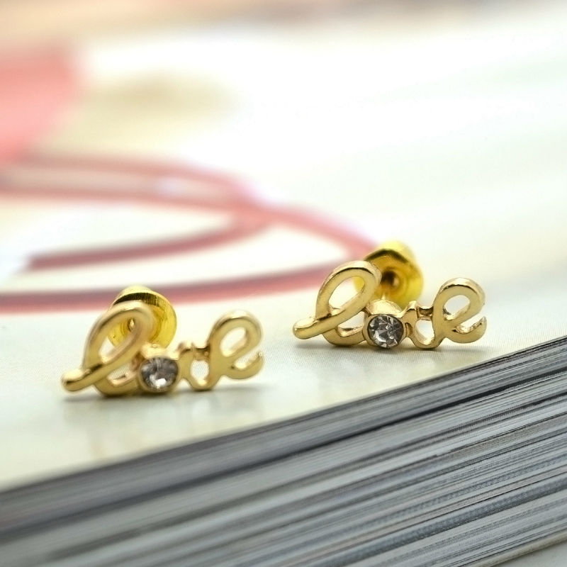 df3eb59dc LEIIY Exquisite Faceted Transparent Zircon Stud Earrings Set With Gold  color Love Letter Stud Earrings For Women 3 Pairs/set-in Stud Earrings from  Jewelry ...