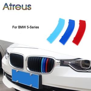 Image 2 - Atreus 3pcs 3D רכב קדמי גריל Trim ספורט רצועות כיסוי מדבקות עבור BMW E39 E60 F10 F07 G30 5 סדרת GT M כוח אבזרים