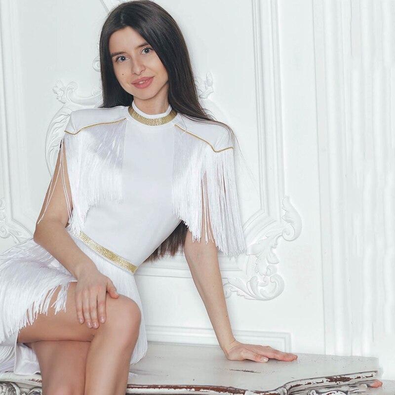 White D'été De Club Gaine Partie Mini Bandage 2019 Mode Cou Robe Indressme Nouveau Moulante Lady Manches La Sexy O Courtes Femmes Gland R1OBwOq
