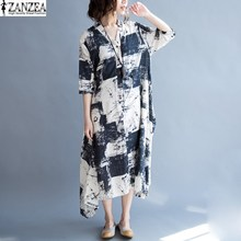 ZANZEA Oversized Women Floral Print Short Sleeve Buttons Down Vintage Cotton Linen font b Maxi b