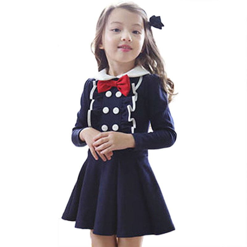 Spring Autumn Kids Toddlers Girls Bowknot Party Dresses Long Sleeve Cotton Tutu Dress New toddlers girls dots deer pleated cotton dress long sleeve dresses