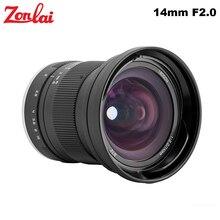 Zonlai 14mm F2 Ultra Grand Angle Mise Au Point Manuelle à Focale fixe pour Fujifilm x mount Sony e mount Canon EOS M Caméra A7 A6500 X T20 X T2