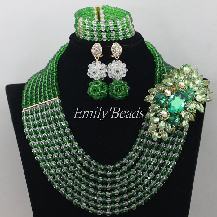 Green Nigerian Wedding Necklace Bracelet Earrings Set Clear White African Costume Crystal Beeds Jewelry Set Free Shipping AIJ205