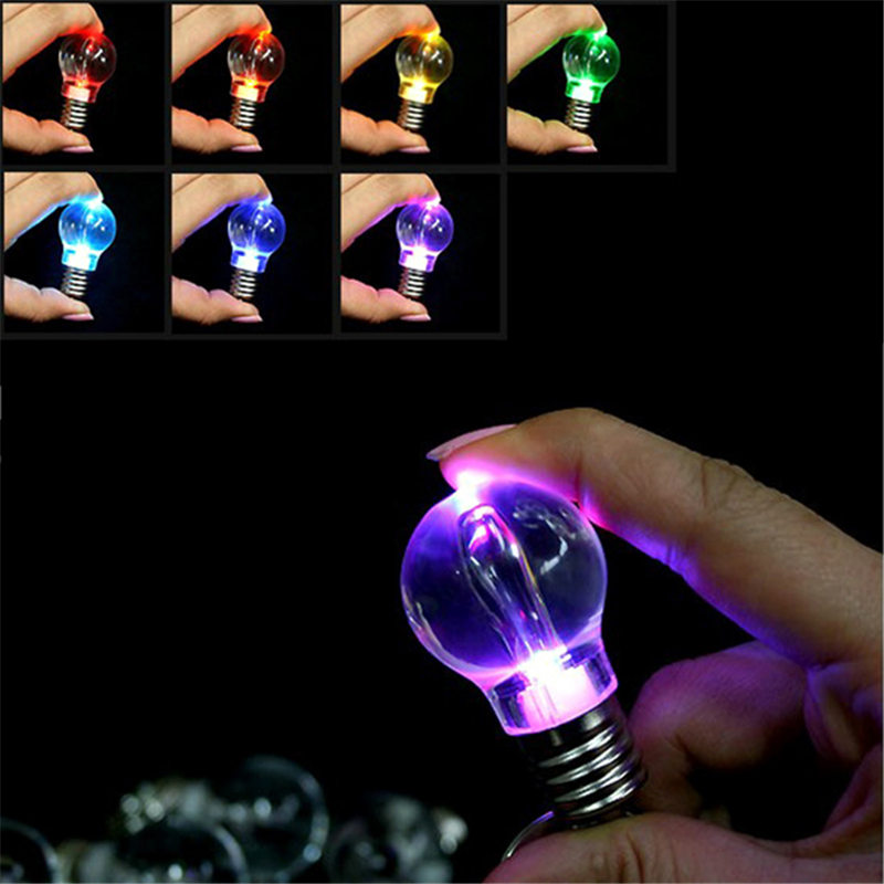 Mini Portable Battery Powered Automatically Changing Color RGB LED Flashlight Light Bulb Lamp Bright Key Ring Keychain Gift