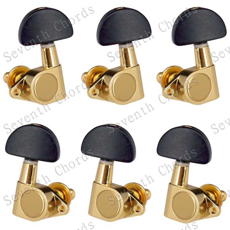 New 3R3L golden Electric Acoustic guitar Sealed gear Tuning Pegs tuners Machine Heads Black Big Semicircle Buttons