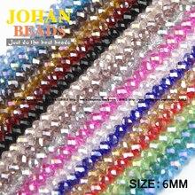 JHNBY бусины круглой формы высокого качества с австрийскими кристаллами, 6 мм, 50 шт., стеклянные бусины для браслетов своими руками