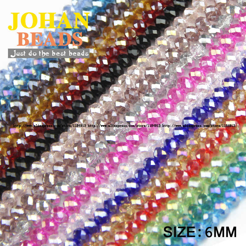 JHNBY Round Shape Upscale Austrian crystal beads High quality 6mm 50pcs loose beads rondelles glass ball bracelet Jewelry DIY