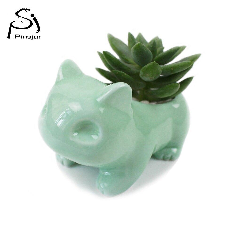 Kawaii Pokemon Ceramic Flowerpot Bulbasaur Planter Cute White / Green Succulent Plants Flower Pot With Hole Cute Free Shipping Ямча