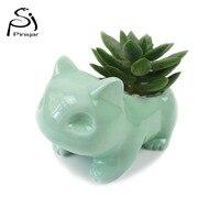 Kawaii Pokemon Ceramic Flowerpot Bulbasaur Planter Cute White Green Succulent Plants Flower Pot With Hole Cute
