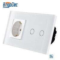 EU Standard 2gang 1way Remote Wall Switch And Germany Wall Socket