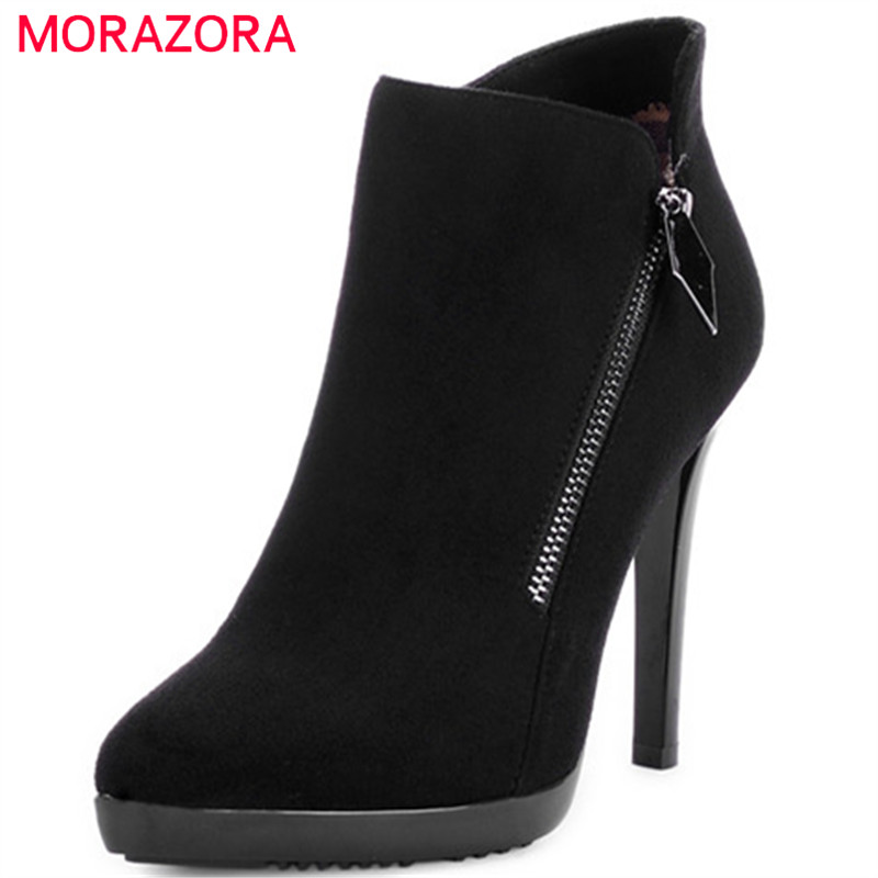 MORAZORA Pointed toe flock zip ankle boots for women fashion shoes platform womens boots in spring autumn boots female new 2017 spring summer women shoes pointed toe high quality brand fashion womens flats ladies plus size 41 sweet flock t179