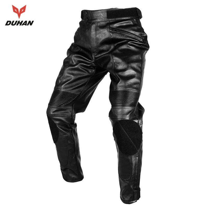 Prix pour DUHAN Moto Motocross Équitation De Protection Pantalon Coupe-Vent Imperméable Hommes de PU Imitation Cuir Racing Sport Pantalon