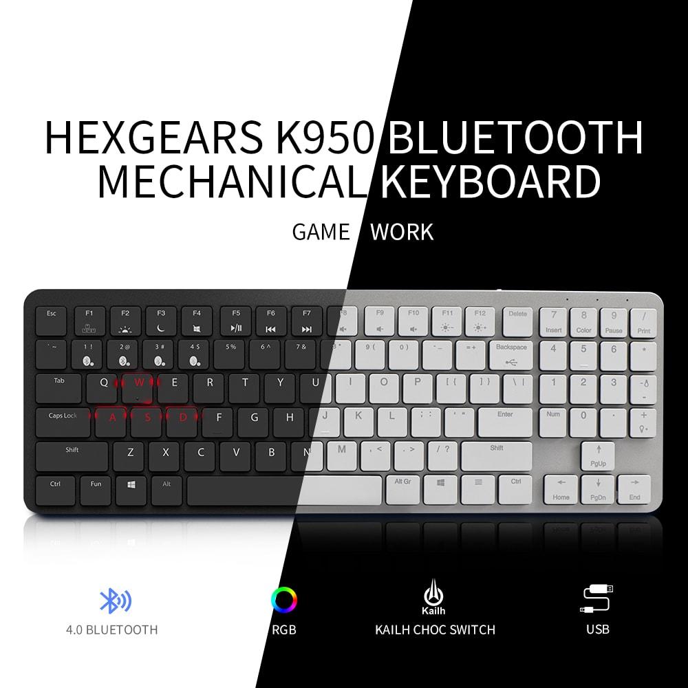 HEXGEARS X1 Bluetooth Clavier RGB Rétro-Éclairage PBT Keycap Slim Gaming Kailh Commutateur Clavier Gamer Sans Fil Mécanique Clavier