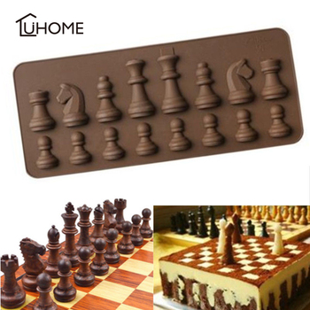 International Chess King Queen Knight Rook Pawn Bishop Single-Sided Fondant Cake Chocolate Molds for Baking Decorating Tools image