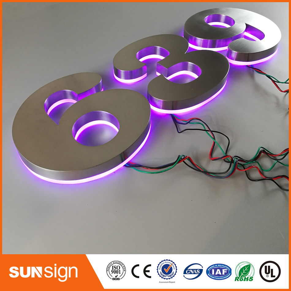 Custom Apartment LED Numbers And Company Name Size H200MM(Custom) Purple Led