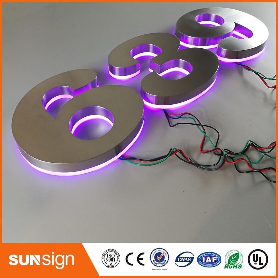 Custom Apartment LED Numbers And Company Name Size H200MM(Custom) Purple Led