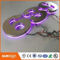 Custom Apartment LED Numbers And Company Name Size H200MM Custom Purple Led