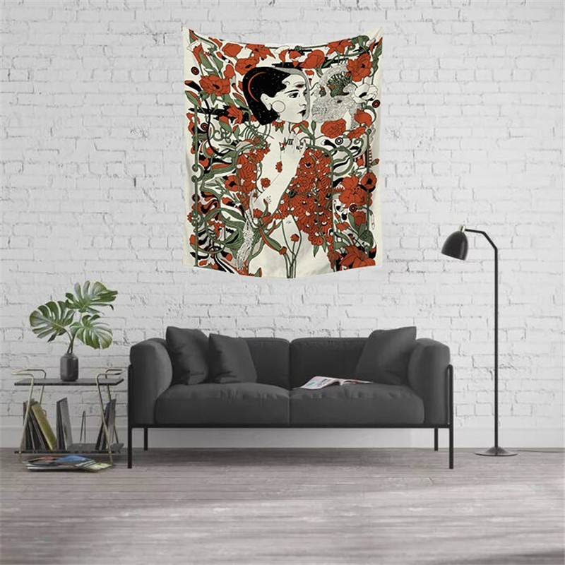 Bohemian Psychedelic Tapestry Wall Fabric Women Skull Floral Hippie Tapestry Art Home Boho Decor Halloween Trippy Tenture Tapiz in Tapestry from Home Garden