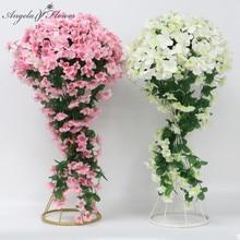 40cm festa de casamento decoração ferro forjado estrada guia artificial flor videira hortênsia rattan wisteria floral bola mesa centerpieces