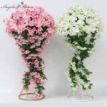 40cm party wedding decor wrought iron road guide artificial flower vine hydrangea rattan wisteria floral ball table centerpieces