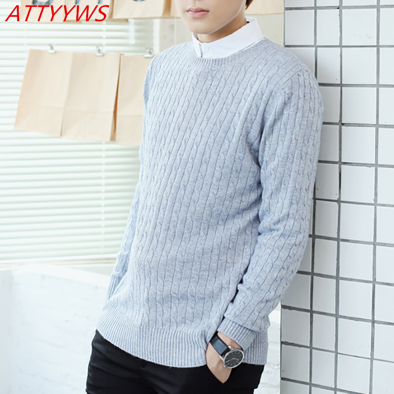 ATTYYWS Autumn And Winter Series New Men's Cashmere Sweater Round Neck Full Sleeve Knit Loose Casual Pullover Warm Sweater 2018