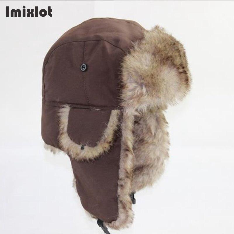 Mens Winter Hats Ear Flaps Bombe Ushanka Russian Hat Warm Solid Color Men Cap Cozy Fake Fur Hero Caps Del Sombrero Hutting(China)
