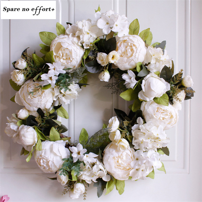 Us 21 9 50 Off Free Shipping Door Decoration 40cm Christmas Garland White Peony Diy Christmas Wreath Material In Wreaths Garlands From Home