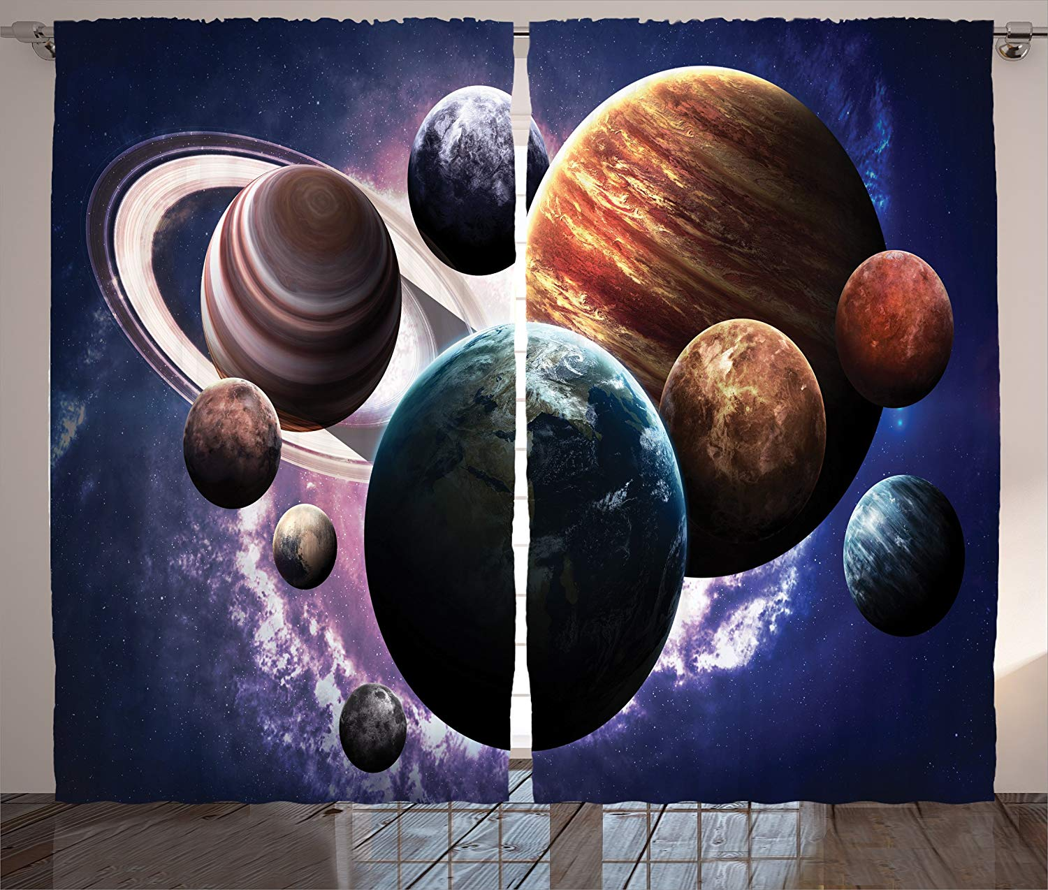 Space Curtains Solar System Planets All Together In Space Mercury Jupiter Globe Saturn Universe Living Room Bedroom Decor