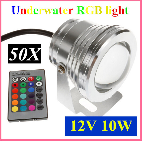 50pcs 10W 12v underwater RGB Led Light 800LM Waterproof IP68 fountain pool Lamp 16 color change with 24key IR Remote controller