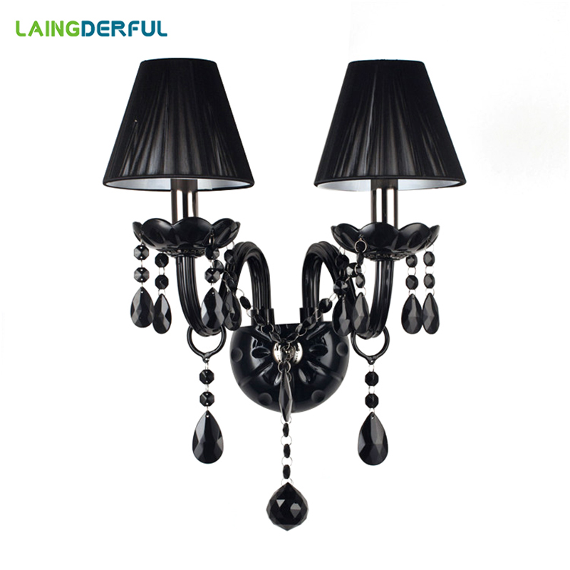 LAINGDERFUL Europe Black Crystal Wall Lamps Luxurious Retro Decoration Light Modern Inwall Lights For Foyer Bed Room Wall Lamps luxurious crystal wall lamp metal plating modern wall light hotel ideas wall lights indoor modern wall lamps art deco lighting
