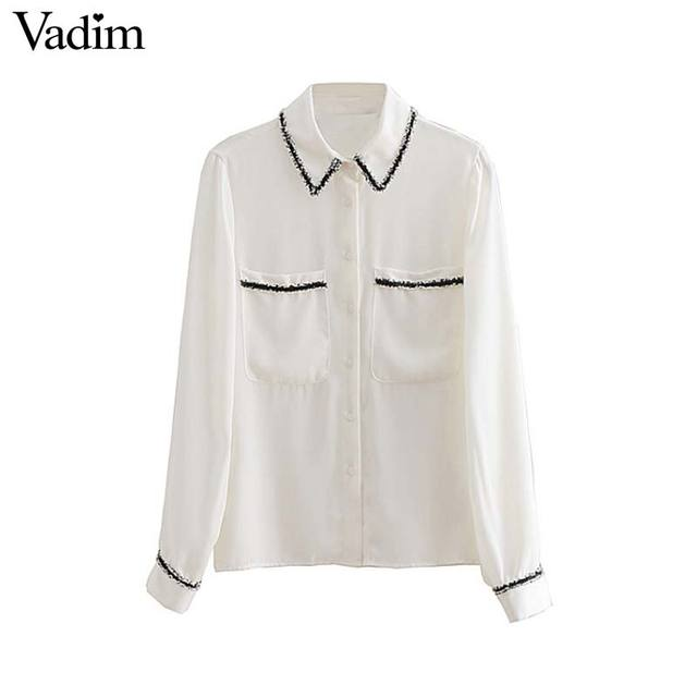 Vadim women elegant white chiffon blouse pockets patchwork see through long sleeve shirt female basic casual tops blusas LA335