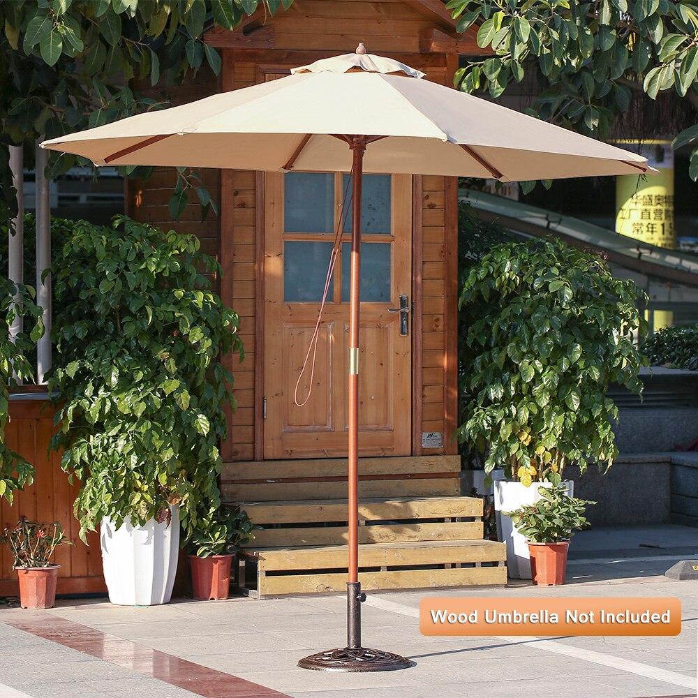 iKayaa 19.8LB Heavy Duty Patio Garden Umbrella Base Stand Cast Iron ...