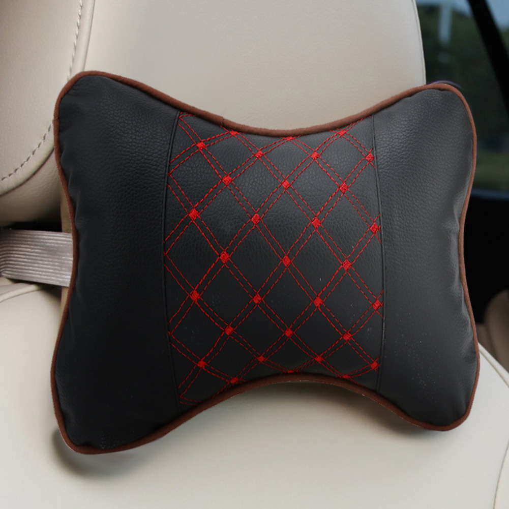 2pcs Leather Car Headrest Pillow Lumbar Back Brace Support