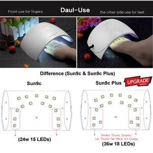 Image 4 - SUNUV UV lambası 36W SUN9C artı 24W SUN9c LED tırnak kurutucu kür tırnak jelleri lehçe manikür tırnak sanat araçları